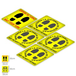 Rotulacion Suelo Distancia Seguridad y Turno. Pegatinas Señalizacion. 5 Unidades Cuadradas, 32 x 32 cm.