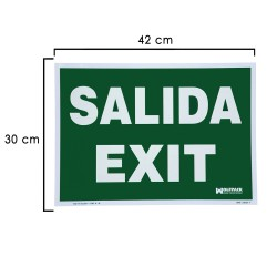Cartel Salida Exit 30x42 cm.