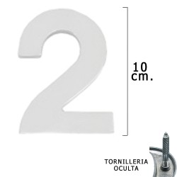 """Numero Metal """"2"""" Plateado Mate 10 cm. con Tornilleria Oculta (Blister 1 Pieza)"""